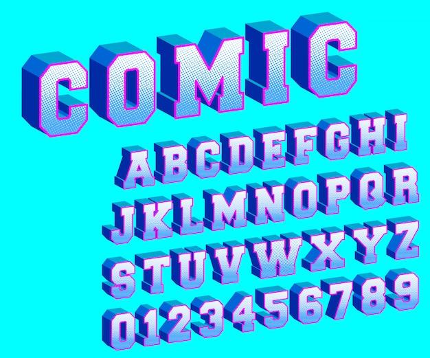 Modèle de bande dessinée alphabet demi-teinte