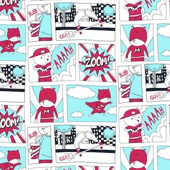 Modèle de bande dessinée dessiné main super héros