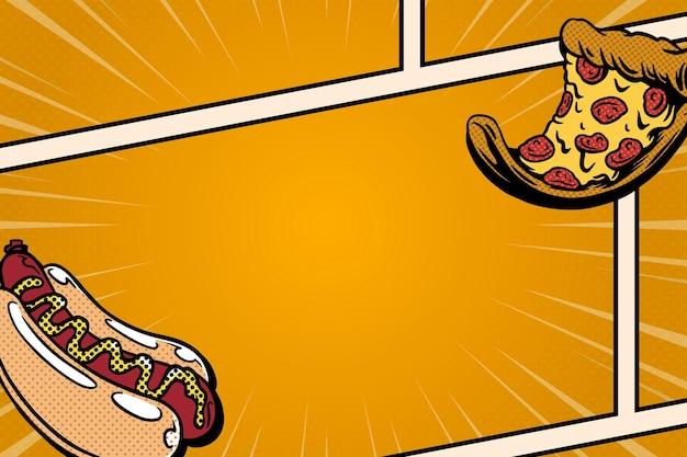 Modèle de bande dessinée pop art hot-dog et pizza