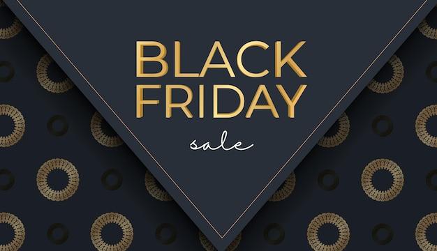 Modèle de baner de célébration pour le vendredi noir en bleu foncé avec un motif doré luxueux