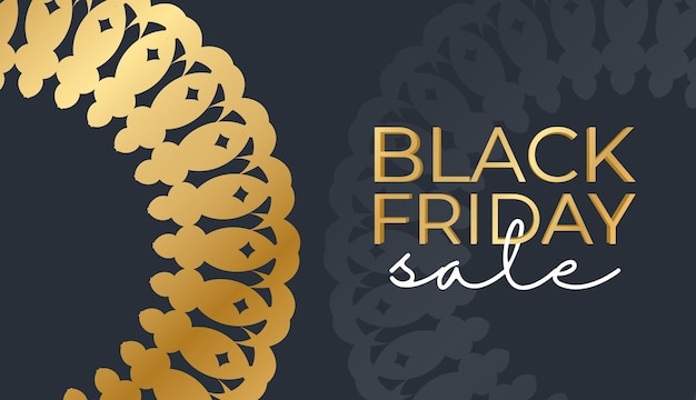 Modèle de baner de célébration pour le vendredi noir en bleu foncé avec motif or abstrait