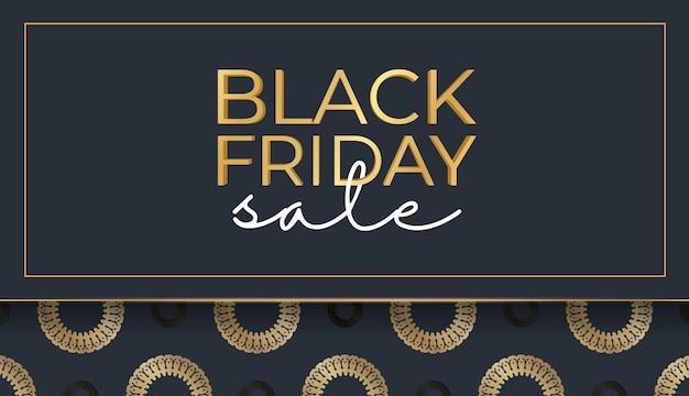 Modèle de baner de célébration pour le vendredi noir bleu foncé avec motif or vintage