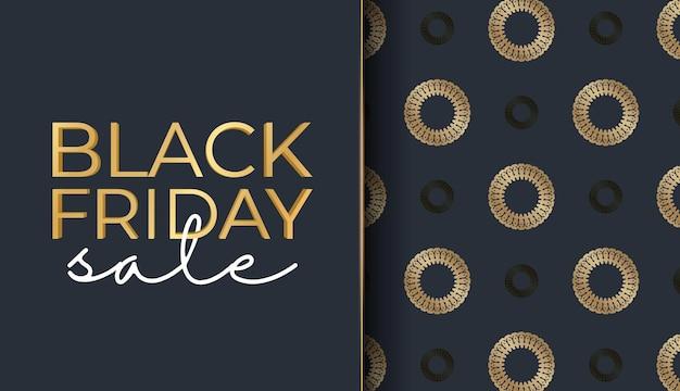 Modèle de baner de célébration pour le vendredi noir en bleu foncé avec ornement abstrait en or