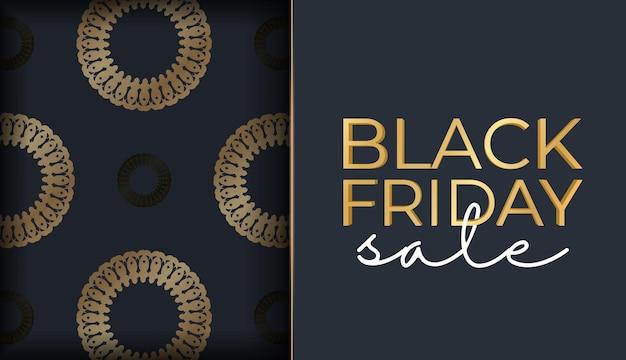 Modèle de baner de célébration pour le vendredi noir en bleu foncé avec ornement luxueux en or