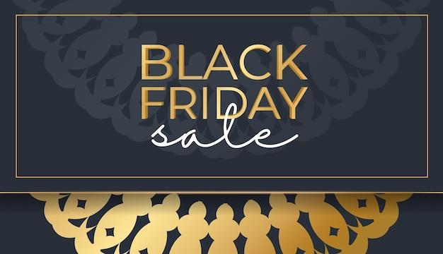 Modèle de baner de célébration pour le vendredi noir en bleu foncé avec ornement en or vintage