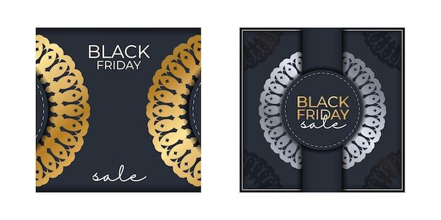 Modèle de baner de célébration pour la vente du vendredi noir bleu foncé avec ornement en or grec