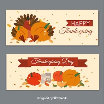 Modèle de bannersa design plat thanksgiving