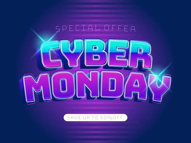 Modèle de bannière 3d cyber lundi