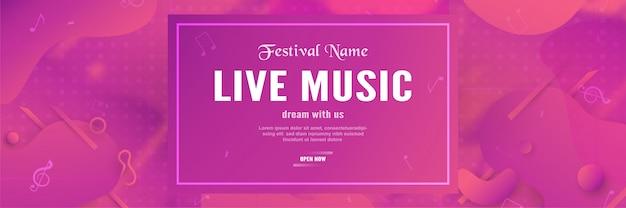 Modèle de bannière 3d du festival de musique.