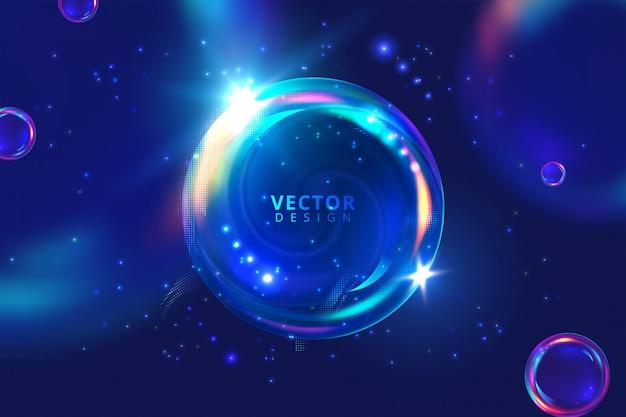 Modèle de bannière abstraite définie conception de bulles de sphère 3d dynamique, vecteur de style branché moderne de boules de néon dégradé brillant. illustration vectorielle