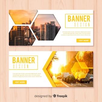 Modèle de bannière d'affaires moderne avec photo