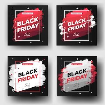 Modèle de bannière d'affichage dans les médias sociaux du vendredi noir