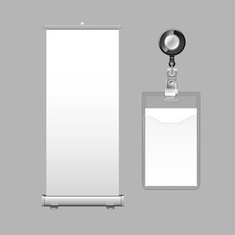Modèle De Bannière D'affichage Vertical Roll-up Vecteur Premium