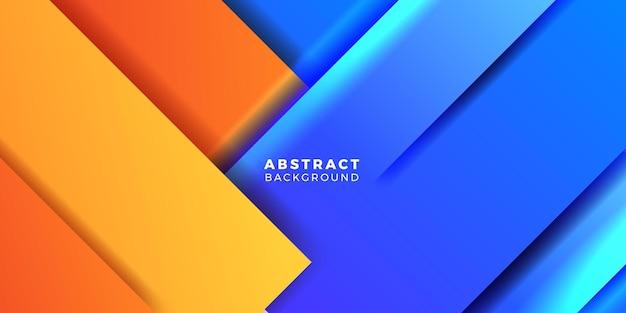 Modèle de bannière d'affiche de couverture de concept de dégradé abstrait orange et bleu géométrique dynamique moderne pour la technologie futuriste