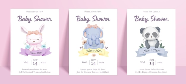 Modèle de bannière d'affiche de douche de bébé avec personnage de bébé animal