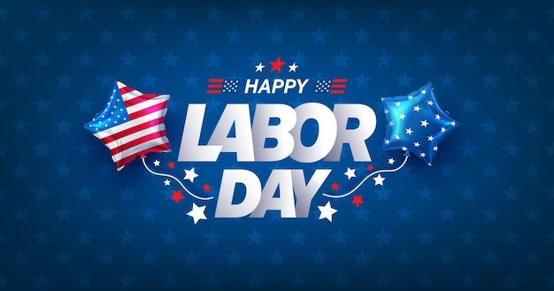 Modèle de bannière et d'affiche de la fête du travail des états-uniscélébration de la fête du travail des états-unis avec le drapeau américain des ballons
