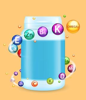 Modèle de bannière d'affiche vectorielle complexe de vitamines et de minéraux, modèle de maquette de bouteille en plastique multivitaminée...
