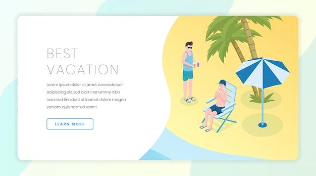 Modèle de bannière d'agence de voyages. vacances saisonnières, idée d'interface de site web de loisirs tropicaux avec illustrations isométriques.
