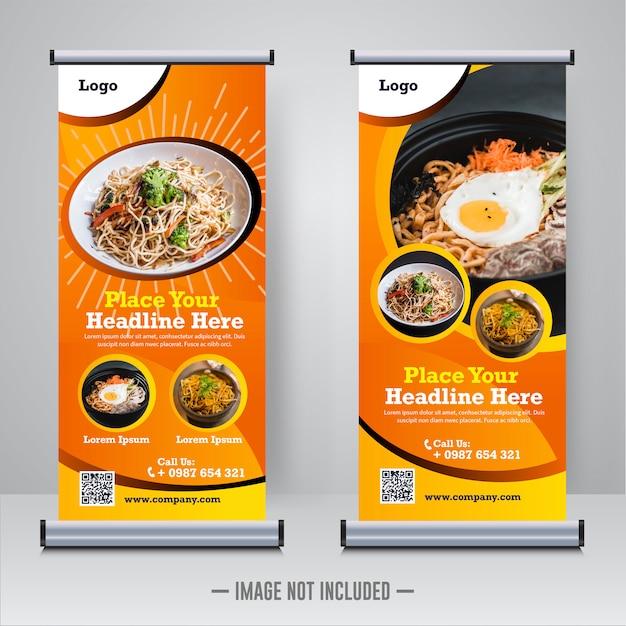 Modèle De Bannière Alimentaire Roll Up Vecteur Premium