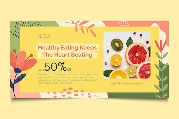 Modèle de bannière d'aliments bio et sains