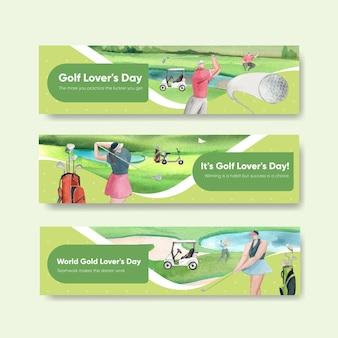 Modèle de bannière avec amateur de golf dans un style aquarelle