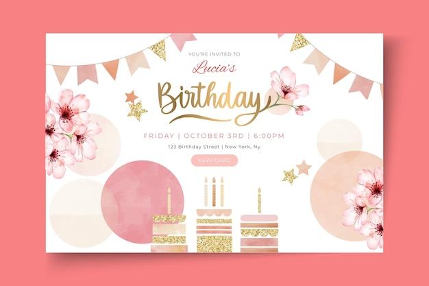 Modèle de bannière d'anniversaire avec des fleurs
