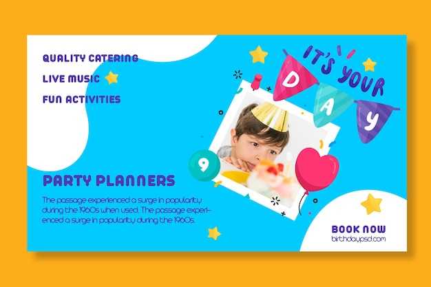 Modèle de bannière d'anniversaire pour enfants