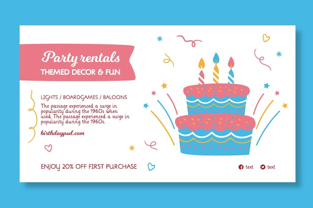 Modèle De Bannière D'anniversaire Pour Enfants Vecteur gratuit
