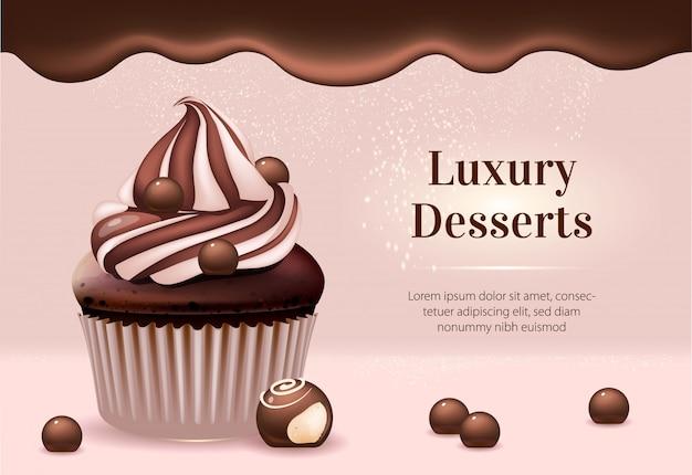 Modèle de bannière d'annonces de produits réalistes de desserts de luxe