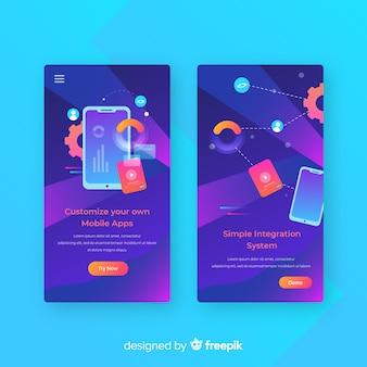 Modèle de bannière d'application mobile dessiné à la main