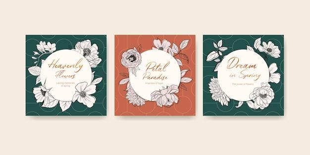Modèle avec bannière aquarelle printemps ligne art concept design