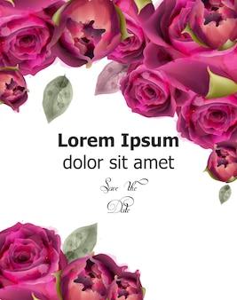 Modèle de bannière aquarelle de roses roses
