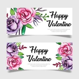 Modèle de bannière aquarelle valentine
