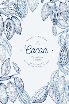 Modèle de bannière d'arbre de fève de cacao. fèves de cacao au chocolat. illustration dessinée à la main. illustration de style vintage