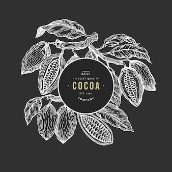 Modèle de bannière d'arbre de fève de cacao.