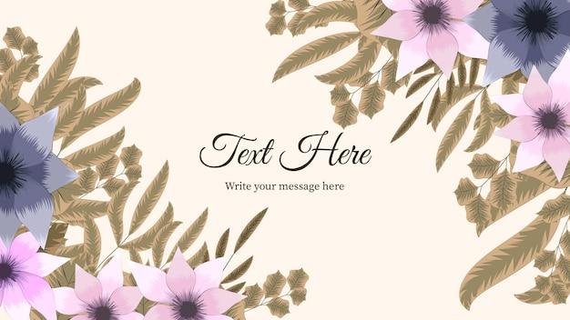 Modèle de bannière d'art floral abstrait de charme avec des fleurs, élément de la nature