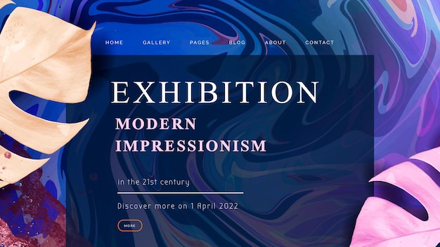 Modèle de bannière d'art fluide avec texte d'exposition d'art