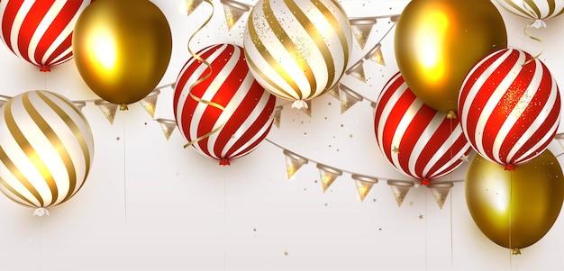 Modèle de bannière avec des ballons dorés