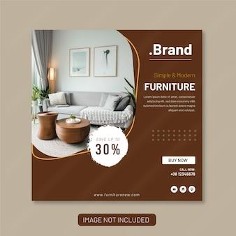 Modèle ou bannière de bannière de publication d'instagram de médias sociaux de meubles
