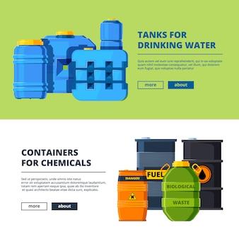 Modèle de bannière avec des barils. différents réservoirs d'eau et d'huile