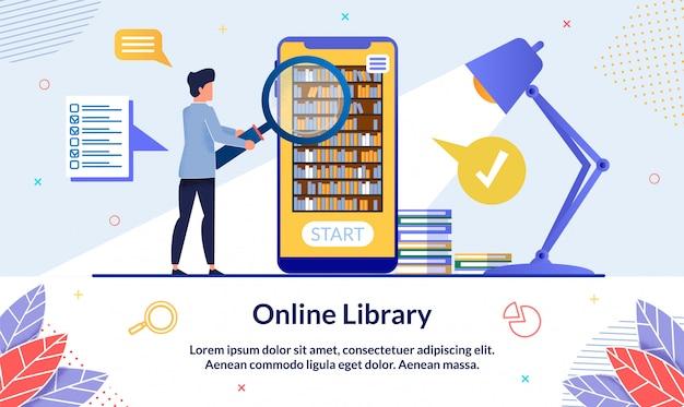 Modèle de bannière bibliothèque en ligne