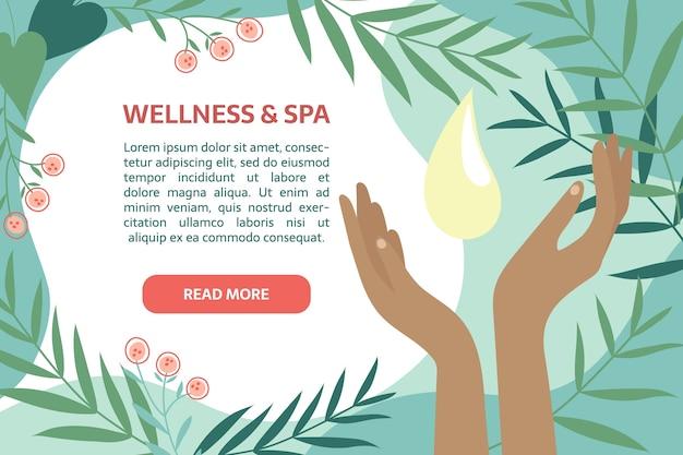 Modèle de bannière bien-être et spa. des mains parfaites avec une goutte d'huile ou de crème