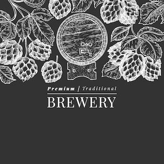 Modèle de bannière de bière et de houblon dessiné à la main.
