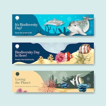 Modèle De Bannière Avec La Biodiversité En Tant Qu'espèce Faunique Naturelle Ou Protection De La Faune Vecteur Premium