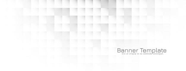 Modèle de bannière blanche géométrique lumineuse abstraite