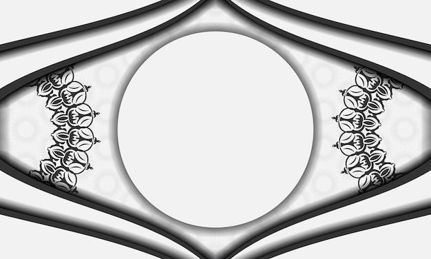 Modèle de bannière blanche avec ornements de mandala et place pour votre logo. arrière-plan de conception avec des motifs vintage.