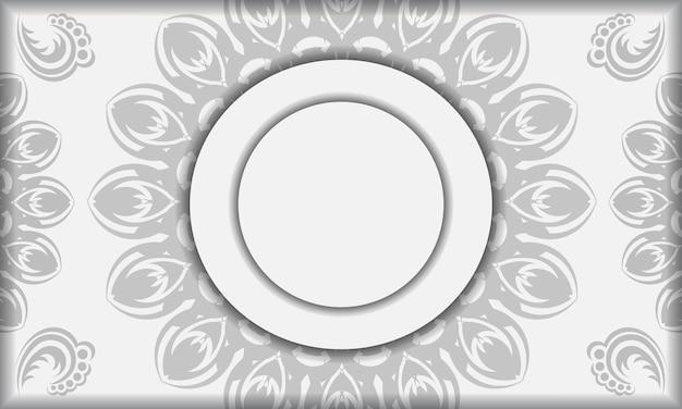 Modèle de bannière blanche avec ornements de mandala et place pour votre logo. fond de conception avec des motifs noirs.