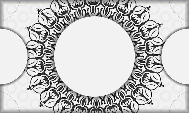Modèle de bannière blanche avec ornements de mandala et place pour votre logo et texte. modèle d'arrière-plan de conception d'impression avec des motifs vintage.