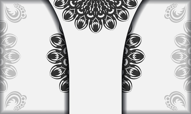 Modèle de bannière blanche avec ornements de mandala et place pour votre logo et texte. modèle d'arrière-plan de conception imprimable avec des motifs noirs.
