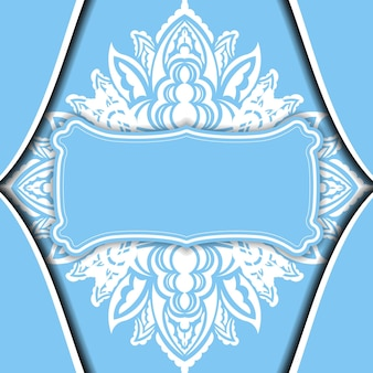 Modèle de bannière bleu clair avec motif blanc vintage et espace pour votre logo